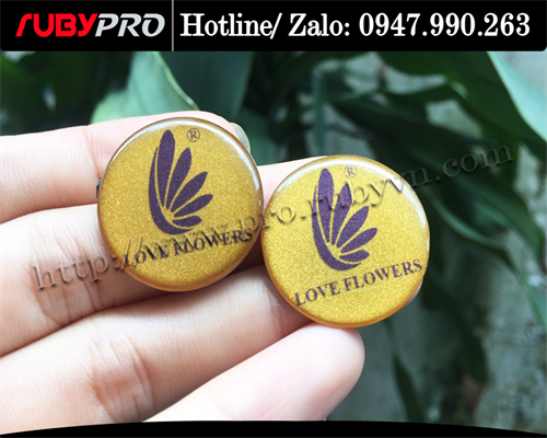 Logo in kim loại Love Flowers